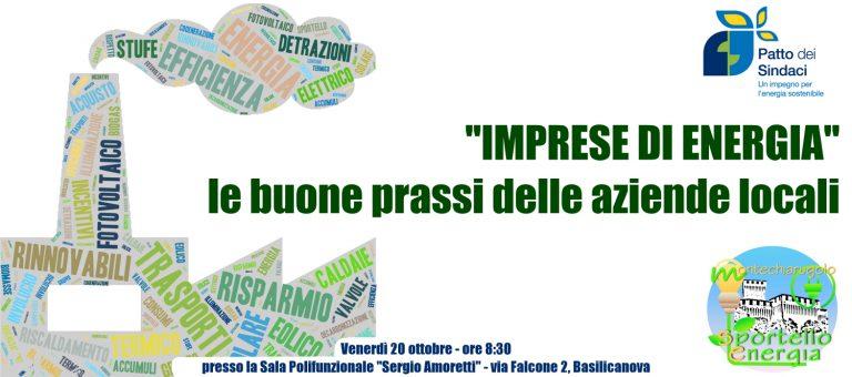 """""""Imprese di Energia"""": venerdì 20 ottobre a Basilicanova un convegno sulle buone prassi delle aziende locali"""