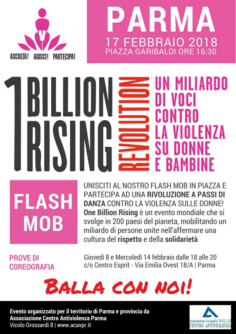 "17 febbraio: ""One Billion Rising"", flash mob a Parma"