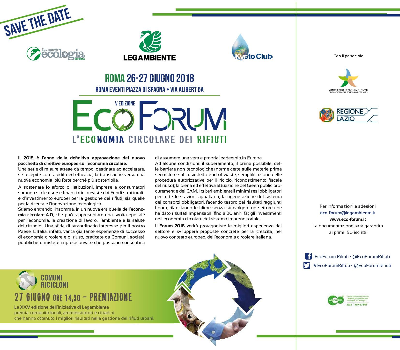 26 e 27 giugno: EcoForum l'economia circolare dei rifiuti