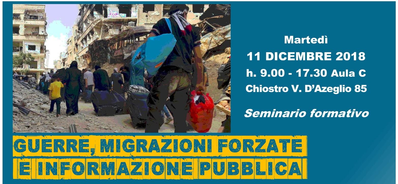 """11 dicembre: seminario formativo """"Guerre, migrazioni forzate e informazione pubblica"""""""