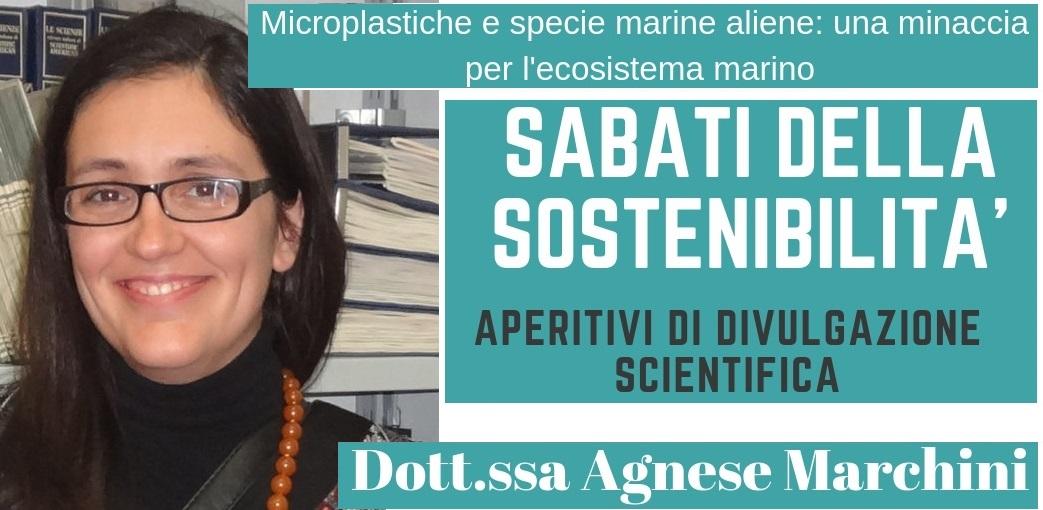 """Un aperitivo (scientifico) con Agnese Marchini. Sabato 16 novembre """"Microplastiche e specie marine aliene: una minaccia per l'ecosistema marino"""""""
