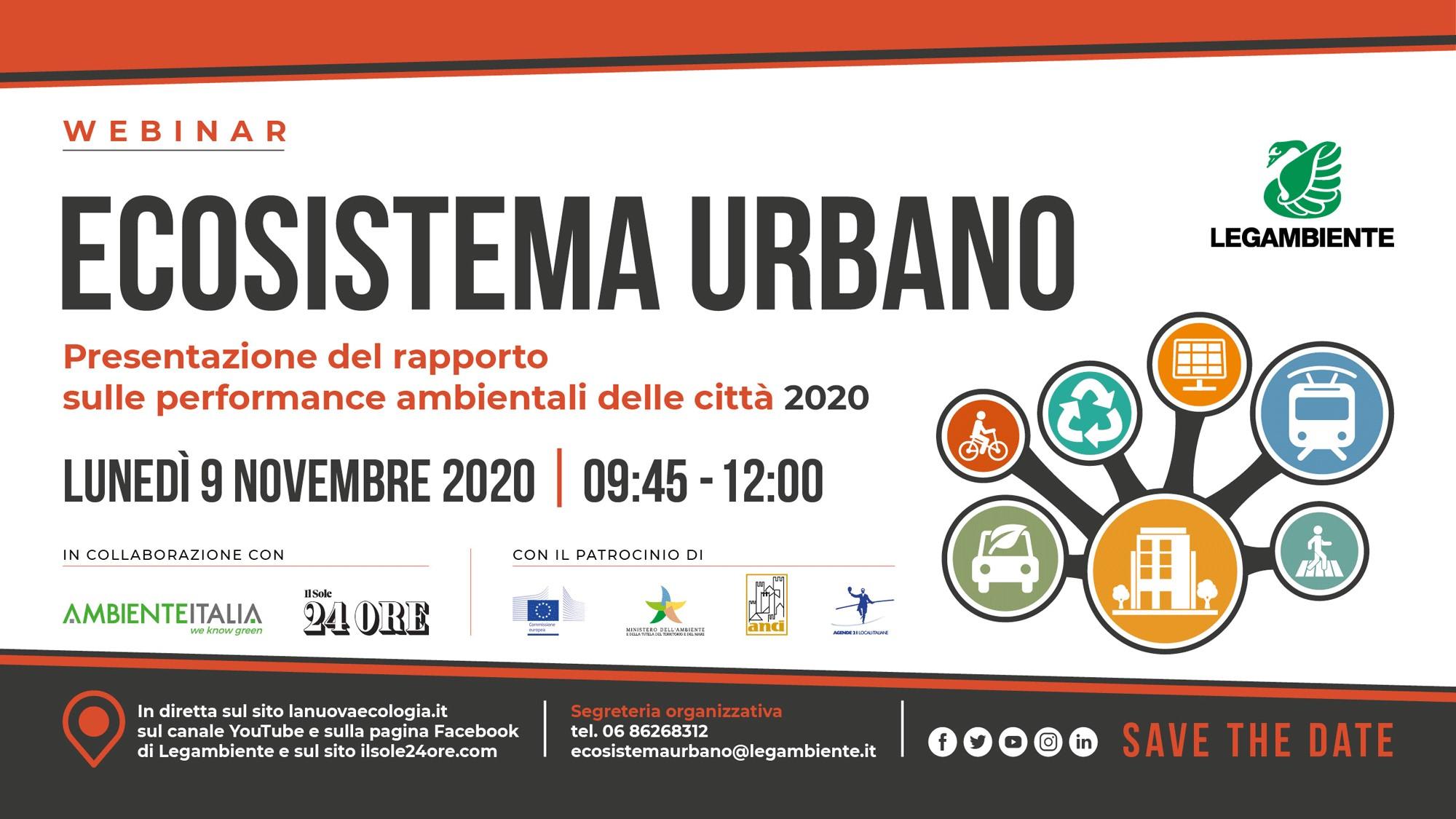 Lunedì 9 novembre: Ecosistema Urbano – Rapporto 2020 sulle performance ambientali delle città