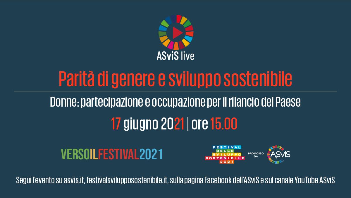 17 giugno: nuovo evento ASviS Live su parità di genere e sviluppo sostenibile